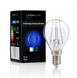 Auraglow 4w G45 Golf Ball Filament LED Vintage Light Bulb - E14 - BLUE - 1 PACK1