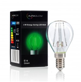 Auraglow 4w G45 Golf Ball Filament LED Vintage Light Bulb - E14 - GREEN1