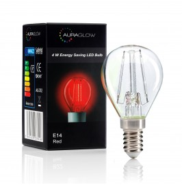 Auraglow 4w G45 Golf Ball Filament LED Vintage Light Bulb - E14 - RED - 1 PACK .1