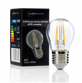 Auraglow 4w G45 Golf Ball Filament LED Vintage Light Bulb - E27 - WARM WHITE.1