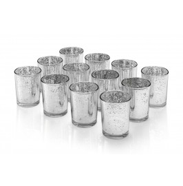 Set of 12 Mercury Glass Votive Candle Tealight Holders - SILVER