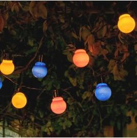Set of 10 Solar Garden String Festoon Lights - Multi Colour