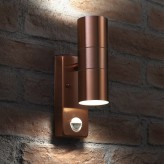 Auraglow PIR Motion Sensor Stainless Steel Up & Down Outdoor Wall Security Light - Warminster - Copper