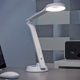 Auraglow 9w Super Bright Touch Control Dimmable LED Halo Desk Lamp Folding Beauty Light - White