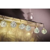 Auraglow Set of 12 Battery Operated 2.5m Indoor String LED Fairy Lights with Warm White Glow - Silver Balls.3