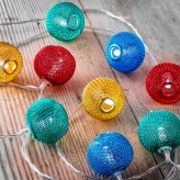 Auraglow Set of 12 Battery Operated 2.5m Indoor String LED Fairy Lights with Warm White Glow - Multi Colour Mesh Balls.1