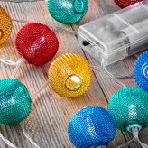 Auraglow Set of 12 Battery Operated 2.5m Indoor String LED Fairy Lights with Warm White Glow - Multi Colour Mesh Balls.2
