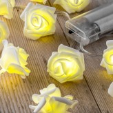 Auraglow Set of 12 Battery Operated 2.5m Indoor String LED Fairy Lights with Warm White Glow - White Rose.2