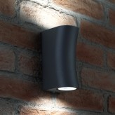 Auraglow IP44 Outdoor Double Up & Down Wall Light - Curved - Grey- Warn White LED Bulbs Included