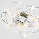 20 LED Micro Silver Wire Indoor Battery Operated Fairy String Lights Warm White