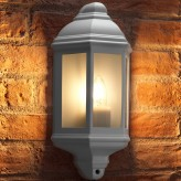 Auraglow Outdoor Wall Lantern Retro Vintage Garden Light - White - Warm White LED Filament Light Bulb Included