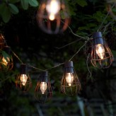 Auraglow Set of 10 Rustic Metal Solar String Bulb Lanterns Outdoor Garden Cage LED Lights - Warm White