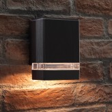Auraglow Indoor / Outdoor Up or Down Wall Light - Black - Warm White LED Bulbs Included