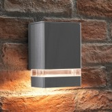 Auraglow Outdoor Double Up or Down Wall Light - BUCKWORTH - Silver