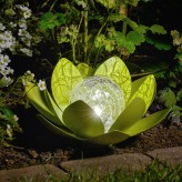 Auraglow Solar Powered Metal Water Lily LED Table Light