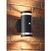 Auraglow PIR Motion Sensor Double Up & Down Wide Pillar Wall Light - TRURO