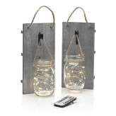 Auraglow Remote Controlled LED Fairy Lights Hanging Mason Jar – Twin Pack