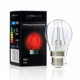 Auraglow 4w G45 Golf Ball Filament LED Vintage Light Bulb - B22 - RED - 1 PACK