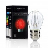 Auraglow 4w G45 Golf Ball Filament LED Vintage Light Bulb - E27 - RED - 1 PACK