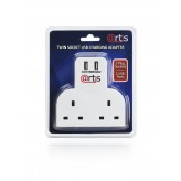 Artis 4 Way Double Plug Socket Mains Switch Extension Adapter with Twin USB Ports