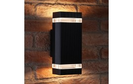 Auraglow Outdoor Double Up & Down Wall Light - CHILTON - Black