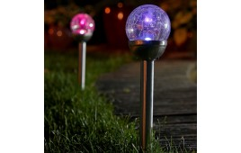 Set of 2 Colour Changing Solar Mosaic Garden Post Lights
