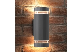 Auraglow Outdoor Double Up & Down Wall Light - ELTON - Silver