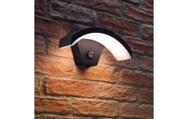 Auraglow Black Arch Integrated LED Motion Sensor PIR Outdoor Wall Light - ADOBE