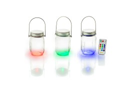 Battery Glass Jar Indoor Lights, Colour Changing, 3 Pack