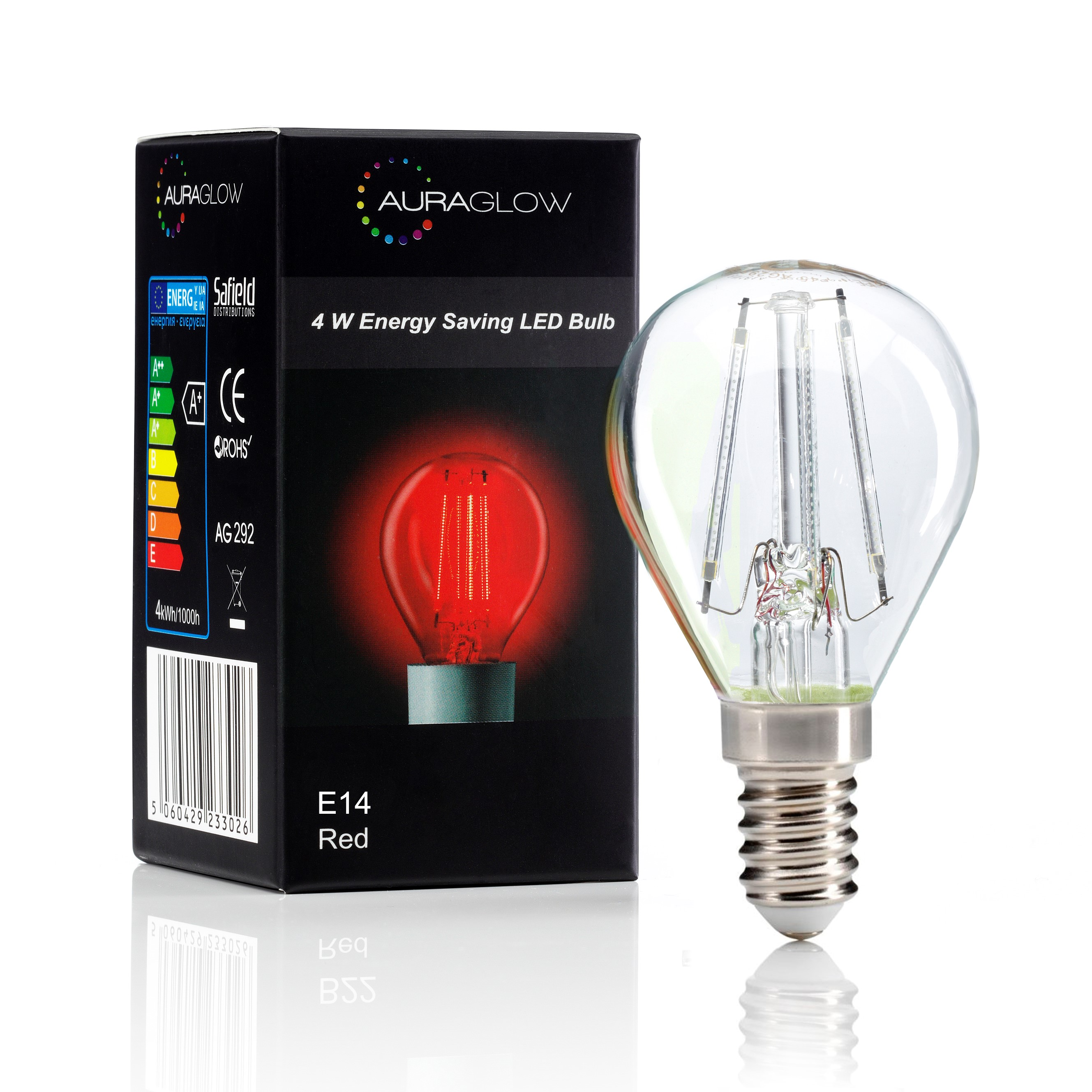 auraglow 4w g45 golf ball filament led vintage light bulb e14 red auraglow led lighting