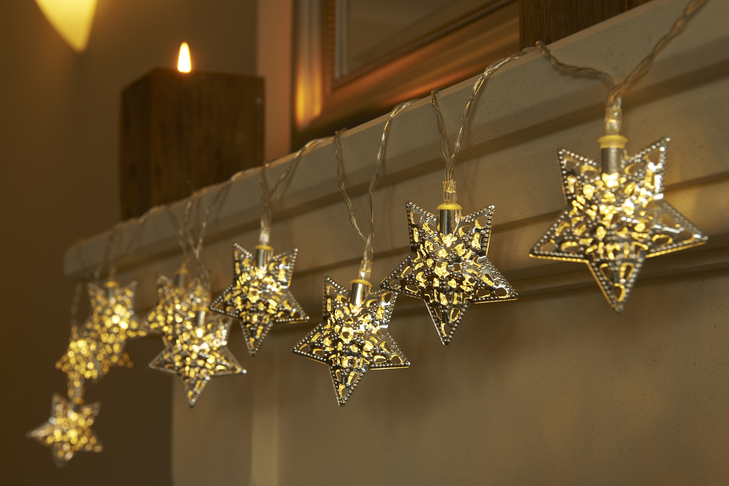 Set Of 12 Battery Operated Moroccan String Lights Stars